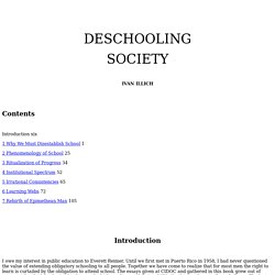 Deschooling Society Ivan Illich