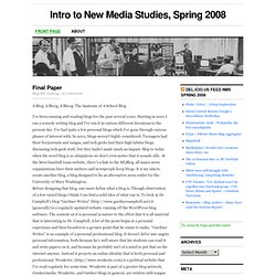 Intro to New Media Studies, Spring 2008