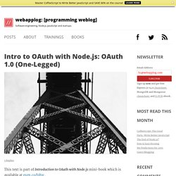 Intro to OAuth with Node.js: OAuth 1.0 (One-Legged)