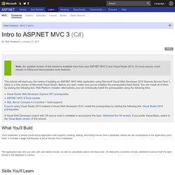 Intro to ASP.NET MVC 3 (C#)