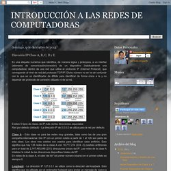 INTRODUCCIÓN A LAS REDES DE COMPUTADORAS: Dirección IP Clase A, B, C, D y E