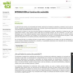 INTRODUCCIÓN en Construcción sostenible - wiki EOI de documentación docente