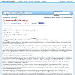 Introducción a la Epistemología - Monografias.com