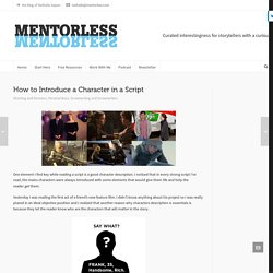 How to Introduce a Character in a Script - mentorless