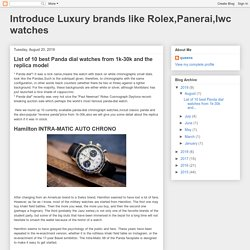 Introduce Luxury brands like Rolex,Panerai,Iwc watches: List of 10 best Panda dial watches from 1k-30k and the replica model