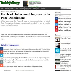 Facebook Introduced Impressum in Page Descriptions