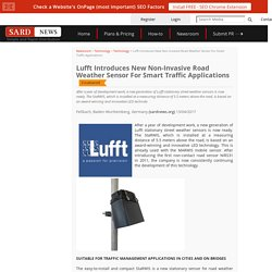 Lufft Introduces New Non-Invasive Road Weather Sensor For Smart Traffic Applications