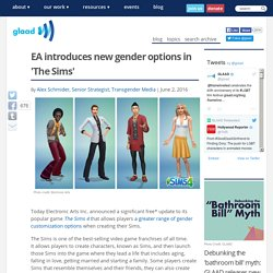 EA introduces new gender options in 'The Sims'
