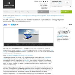 SolarX Energy Introduces its 'Next Generation' Hybrid Solar Energy System