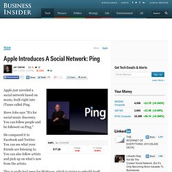 Apple Introduces A Social Network: Ping