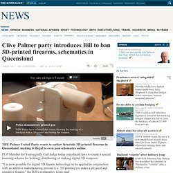 Clive Palmer party introduces Bill to ban 3D-printed firearms, schematics in Queensland