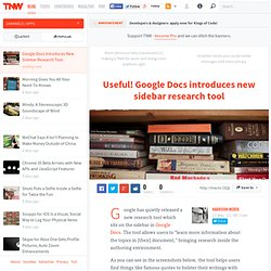 Google Docs Introduces New Sidebar Research Tool
