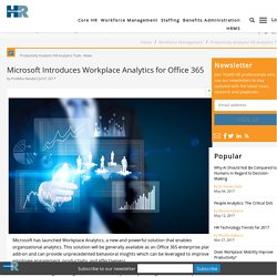 Microsoft Introduces Workplace Analytics for Office 365
