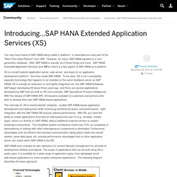 Introducing...SAP HANA Extended Application Services (XS)