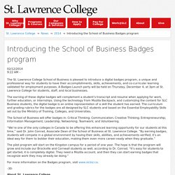 23-Introducing the School of Business Badges program: St. Lawrence College :2014