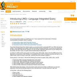 Introducing LINQ—Language Integrated Query