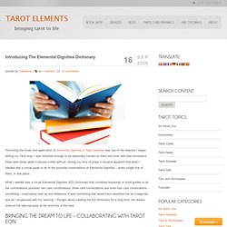 The Elemental Dignities Dictionary - The Introduction To The Tarot Elements Visual Guide To Studying Elemental Dignities
