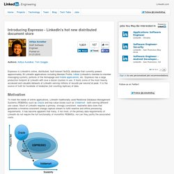 Introducing Espresso - LinkedIn's hot new distributed document store
