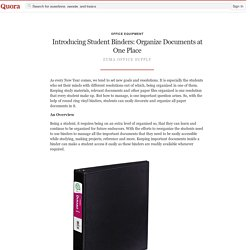 Introducing Student Binders: Organize Documents... - Office Equipment - Quora