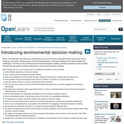 Introducing environmental decision making - OpenLearn - Open University - T863_1