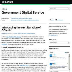 Introducing the next iteration of GOV.UK