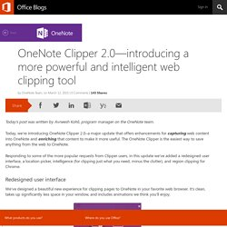 OneNote Clipper 2.0—introducing a more powerful and intelligent web clipping tool