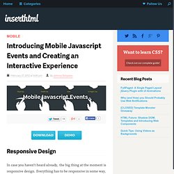 Introducing Mobile Javascript Events and Creating an Interactive Experience
