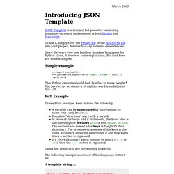Introducing JSON Template