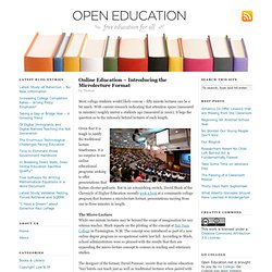 Online Education – Introducing the Microlecture Format