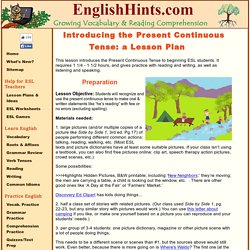 Lesson Plan for Introducing the Present Continuous Tense