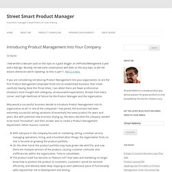 Introducing Product Management Into Your Company