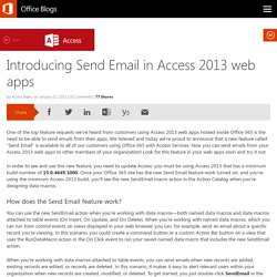 Introducing Send Email in Access 2013 web apps