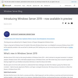 Introducing Windows Server 2019 – now available in preview - Windows Server Blog