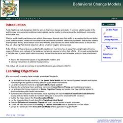 Social Theories: Public Health. Boston University