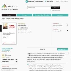 """Les cahiers du numérique : """"Recherche collaborative d'information"""""""