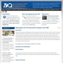 Bibliographie de l'homosexualité au Québec avant 1990