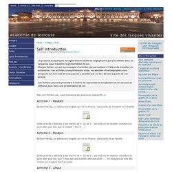 Self Introduction - [English website of the Académie de Toulouse]