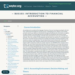 Course: BUS103: Introduction to Financial Accounting
