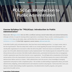 POLSC241: Introduction to Public Administration