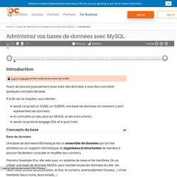 Introduction - Administrez vos bases de données avec MySQL