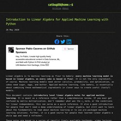 Introduction to Linear Algebra for Applied Machine Learning with Python