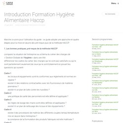 Introduction Formation Hygiène Alimentaire Haccp