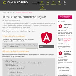 Introduction aux animations Angular