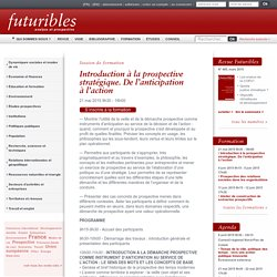 Introduction à la prospective stratégique. De l'anticipation à l'action