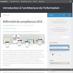 Référentiel de compétences 2016 – Introduction à l'architecture de l'information