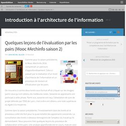Quelques leçons de l'évaluation par les pairs (Mooc #Archinfo saison 2) – Introduction à l'architecture de l'information