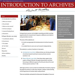 Introduction to Archives: home page