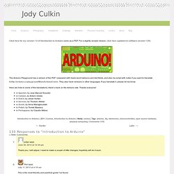 Introduction to Arduino | Jody Culkin