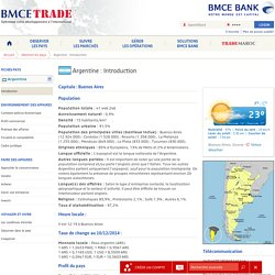 Introduction - Argentine - Observer les pays - BMCE Trade