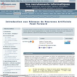 Introduction aux Réseaux de Neurones Artificiels Feed Forward